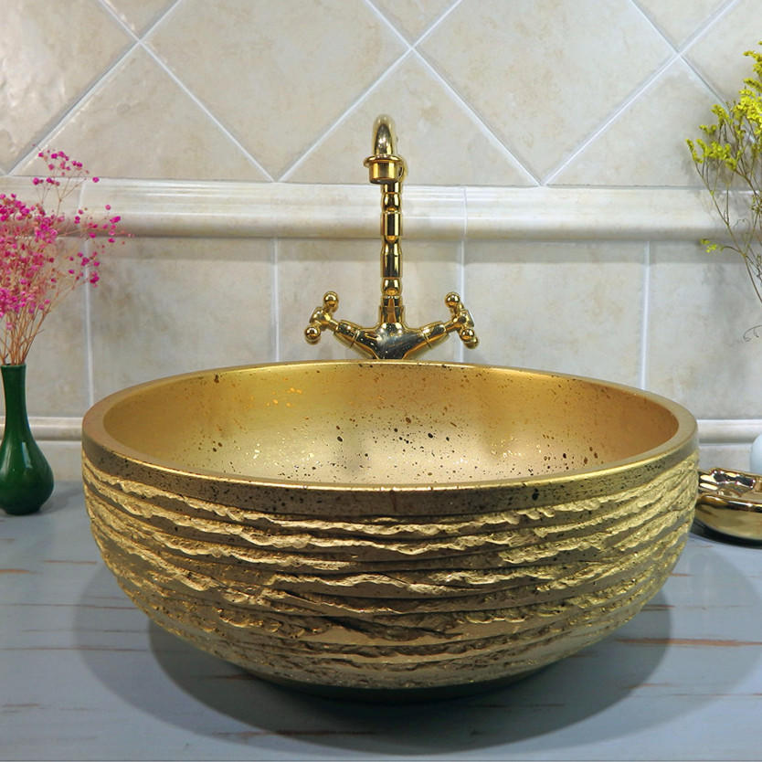 Beautiful designs of shining and matt gold  sinks of round bowl top basins