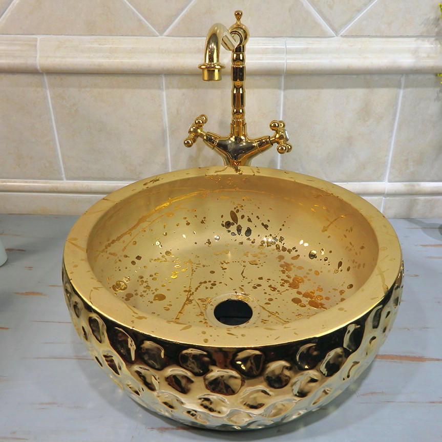 Porcelain material of round top bathroom sinks with luxury gold designs basins