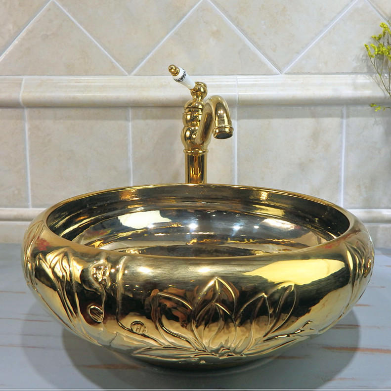 High quality luxury sink  of handmade embossment and light golden art basin