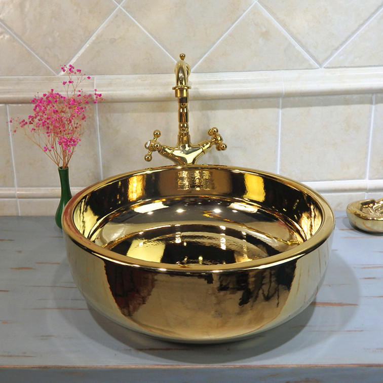 wash basin& wash bowl of luxury gold design for washing the hands