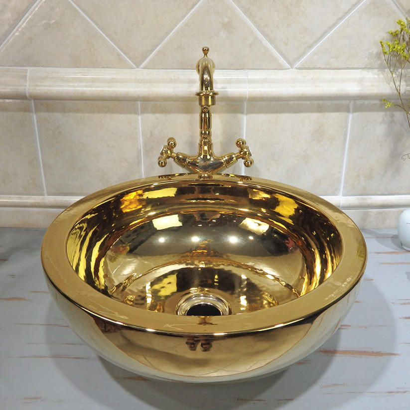 Round Ceramic Electroplate Luxury Gold Color Wash Basin