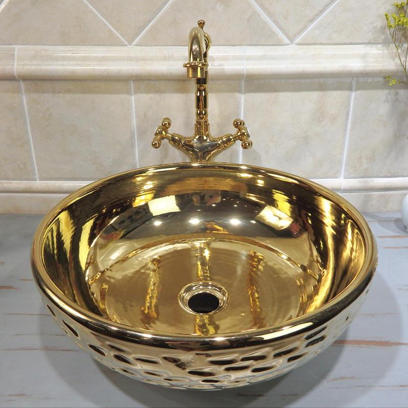 latest designs table top face sink promidr porcelain art gold fancy wash basin