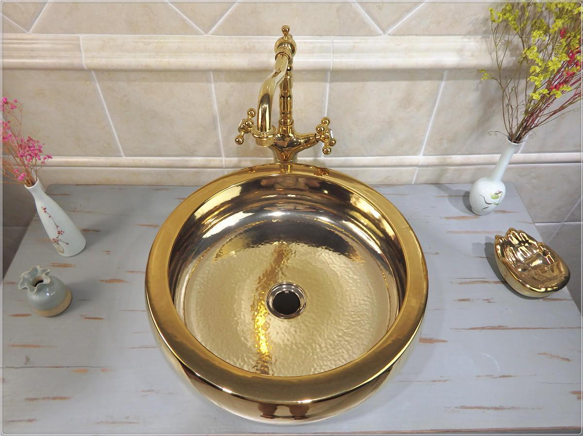 Gold luxury high quality ceramic bathroom colored ceramic basin sink