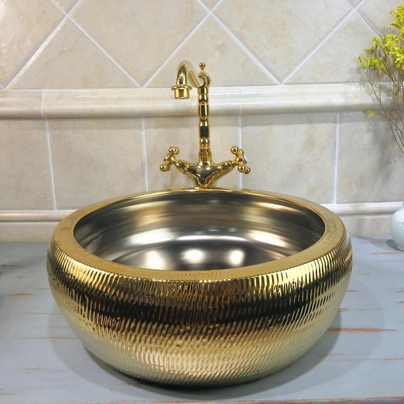 China Supplier Bathroom Gold Color Ceramic Sanitary Ware gold&  silver Wash Basin