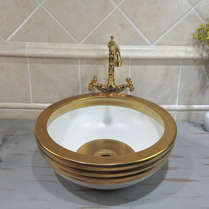 bathroom colored ceramic gold hand wash basin of thr brdt mordern designs