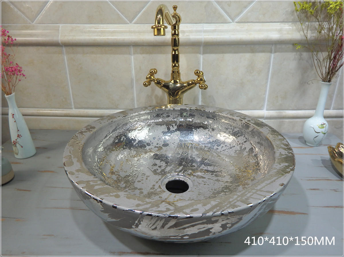 jingdezhen porcelain silver color ceramic wash basin