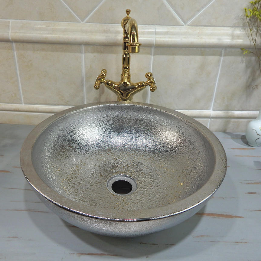 Professional Silver hand sinks manufactures of  Silver electroplated ceramic bathroom wash basin design