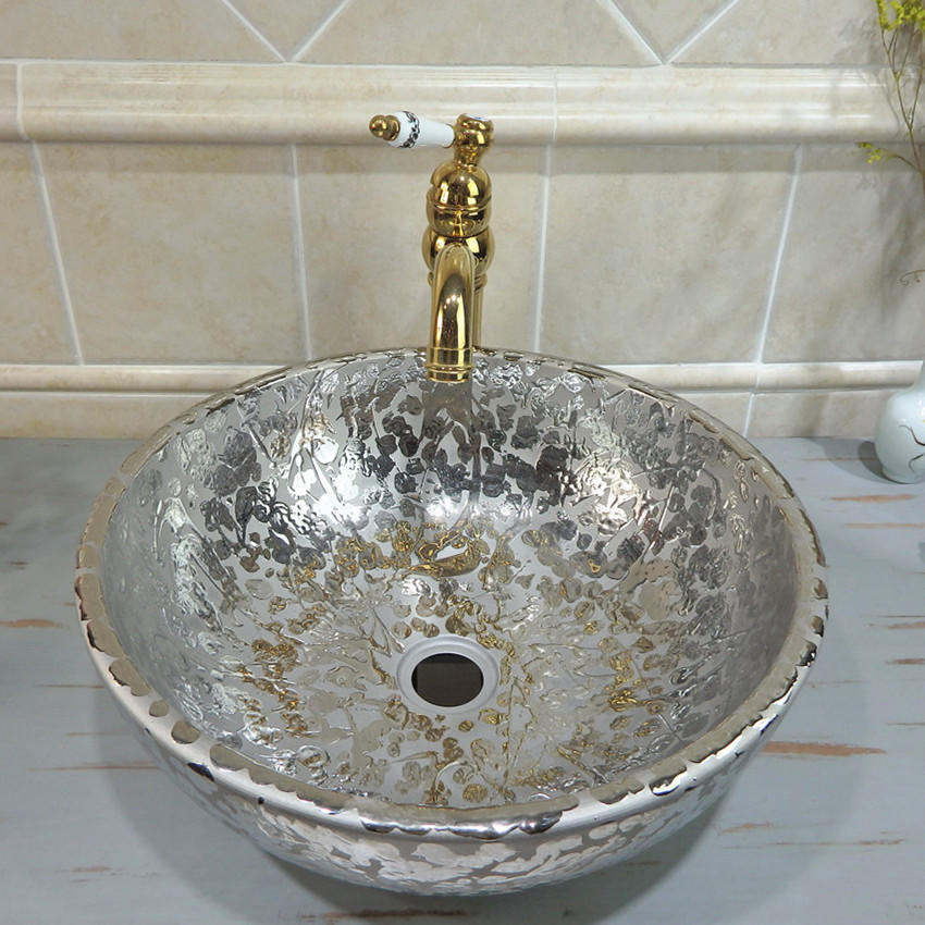 High quality electroplating silver modern bathroom porcelain wash silver basin