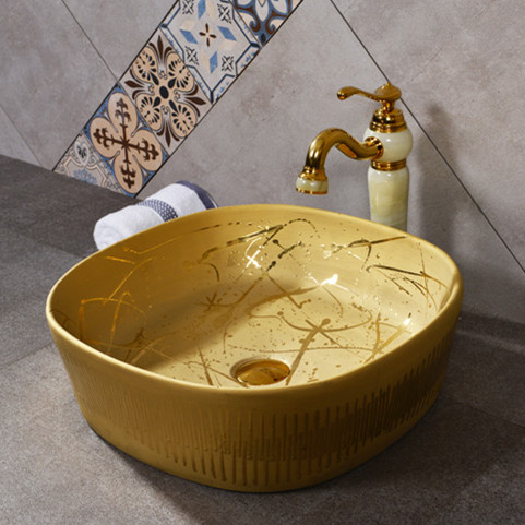 Handmade decorative gold basin bathroom sink