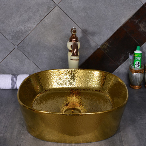 Promise art luxury gold wash basin sink for hotel