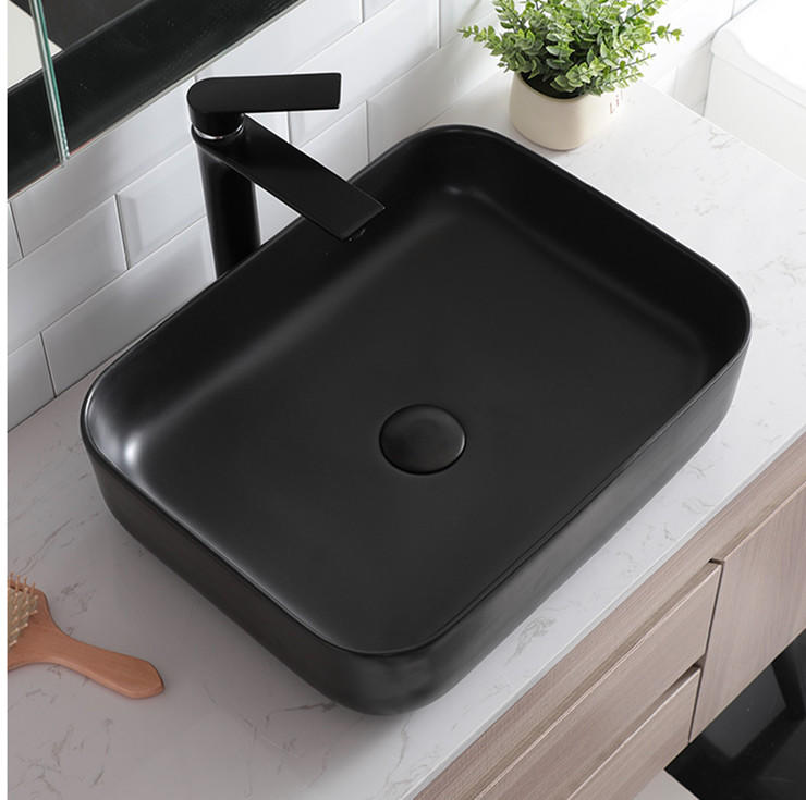 Durable Industrial wind High Temperature Ceramic wash basin & black wash sinks from Promise Art Basin