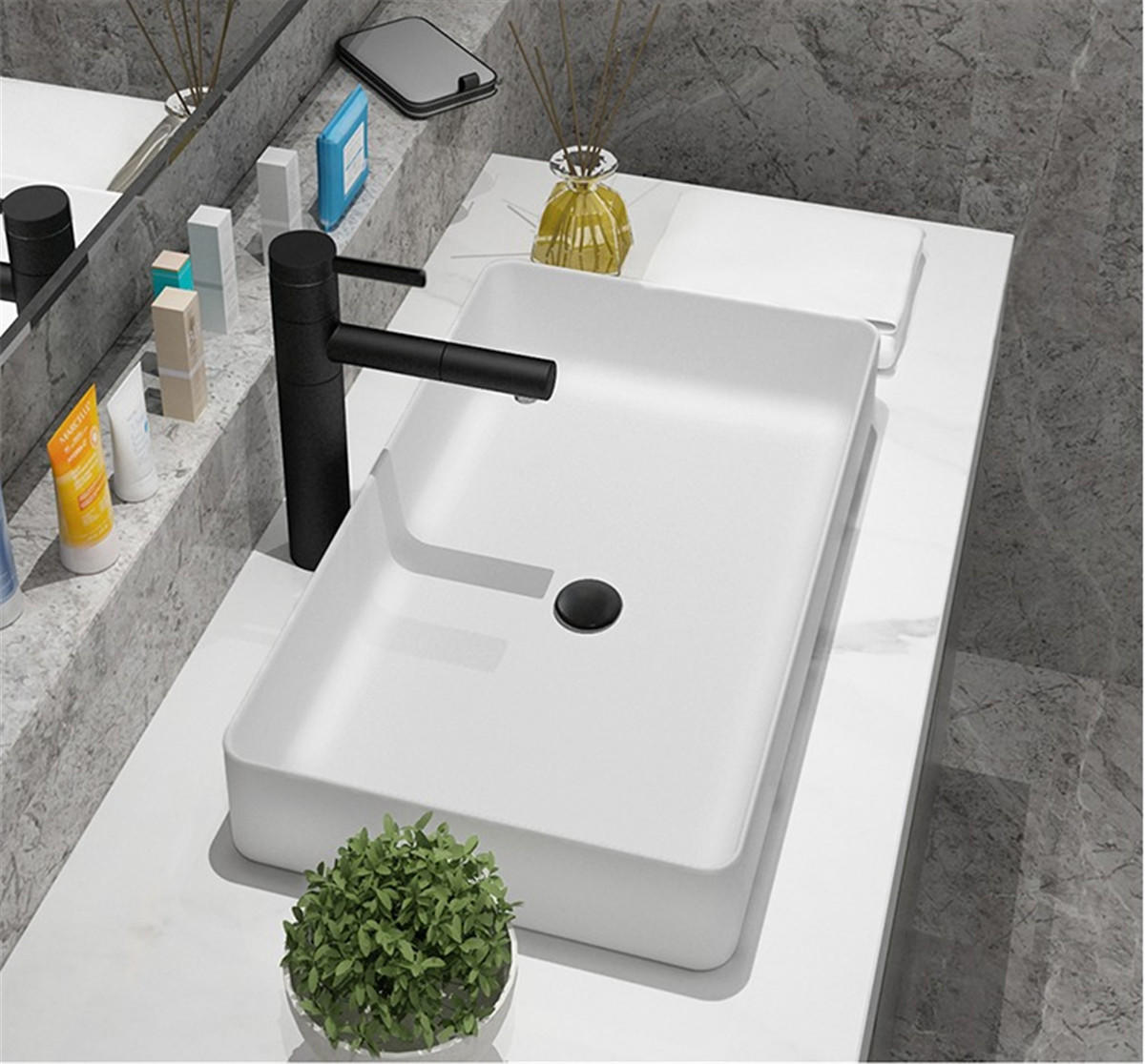 Ceramics counter top wash sinks in Pure White Color RECTANGULAR SHAPE apply for home decor