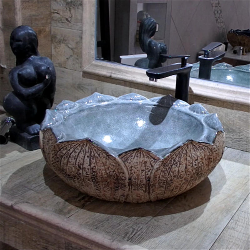 Lotus shape handmade counter top wash basins for home decor with patented products
