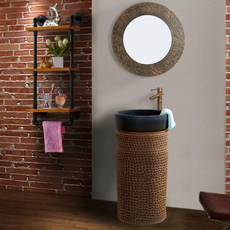 Ceramics Pedestal Wash Sinks for Bathroom Decor