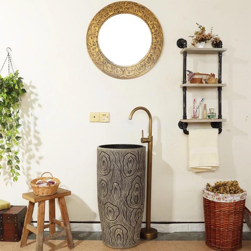 Ceramics Pedestal Wash sinks for home decor and hotel decor