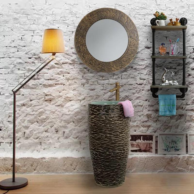 Ceramics Stone pedestal wash sinks for home decor
