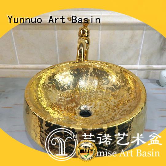handmade golden sink patching customization open-air lounge bar
