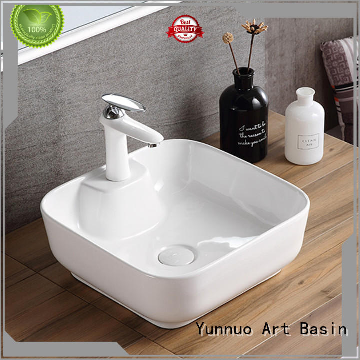 Yunnuo art basin white gold ceramic undermount sink pure balcony