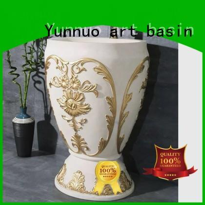 Yunnuo art basin luxury basin pedestal wash hand basin hot sale bathroom decor