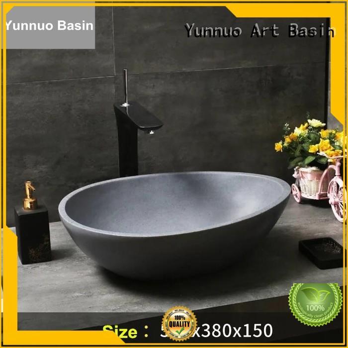 gray Custom pedestal industrial stone countertop basin Yunnuo art basin man