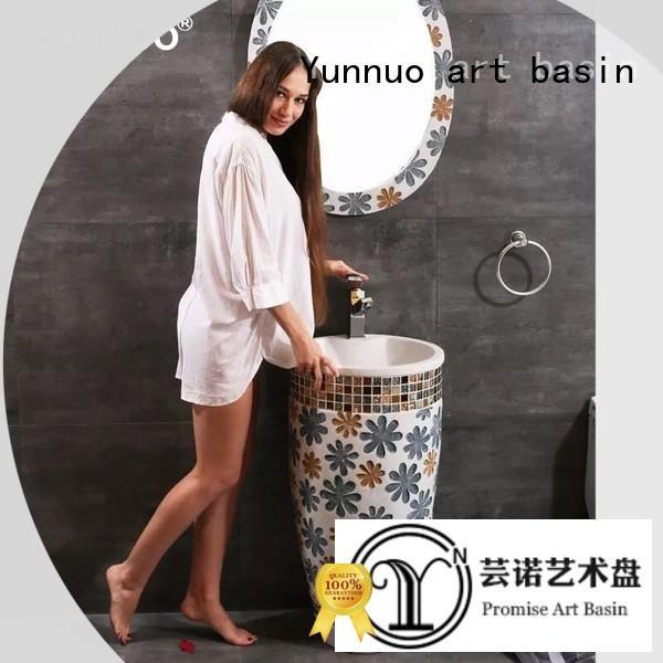 Yunnuo art basin end pedestal vessel sink supplier balcony