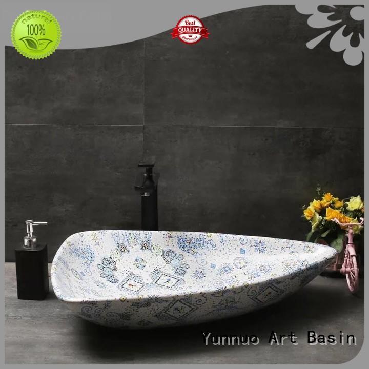 style Custom design gray stone countertop basin Yunnuo art basin big